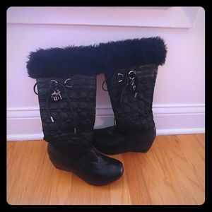 Aldo black wedges boots